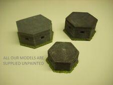 wargames scenery. 3 piece British concrete pill box set 1/76 for 20mm (0119)
