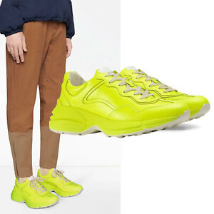 GUCCI SNEAKERS MENS RHYTON YELLOW FLUORESCENT LEATHER SHOES $790 sz 8G 8.5 US