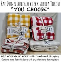 "Rae Dunn Buffalo Check Sherpa Throw Blanket THANKFUL BLESSED MERRY ""U CHOOSE""'20"
