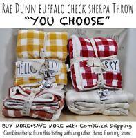 "Rae Dunn Buffalo Check Sherpa Throw Blanket THANKFUL HELLO FALL! ""YOU CHOOSE""'20"