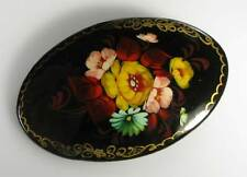 Russische Lackmalerei Brosche Holz gelbe Rosen signiert Miniaturmalerei oval