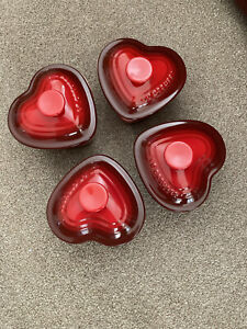 Le Creuset Mini Ramekin Heart Shaped Petit Casserole Lid Red - FOUR OF