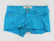 HOLLISTER blue distressed denim low rise hotpants hot pants shorts size 6 W23 00