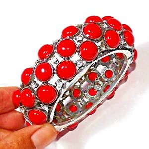925 Silver Plated Manmade Red Turquoise Tibetan Bangle Cuff Bracelet Jewelry