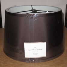 "Pottery Barn SILK TAPERED DRUM TABLE LAMP SHADE SMALL 13.5"" ESPRESSO BROWN, NEW"