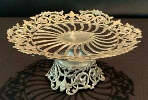 1800s GORHAM Co. VICTORIAN STERLING SILVER FLORAL JALI WORK STAND WITH MARK