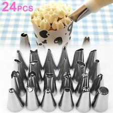 24Pcs Sugarcraft Icing Piping Nozzles Tips Pastry Cake Cupcake Bake Decor Tools