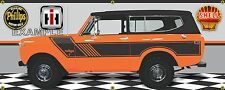 1974 INTERNATIONAL SCOUT II RALLYE ORANGE/BLACK GARAGE SCENE BANNER SIGN 2' X 5'