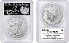 2021-(P) $1 Silver Eagle MS70 PCGS T1 Emergency Issue FDOI T Cleveland Freedom