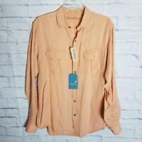 Caribbean Men's Linen Shirt Size M Long-Sleeve Front Pockets Button Down Peach