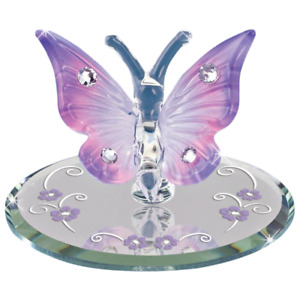 Glass Baron Lavender Butterfly Figurine Accented with Swarovski Crystals