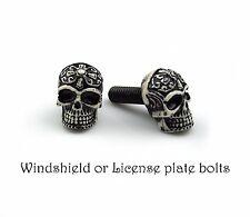 2 tribal Skull bolts for License plate frame screw,windshield, Motorcycle custom