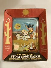 Vintage J Chein Wind Up Swiss Music Box - Musical Moving Storybook -Ranch - NOS