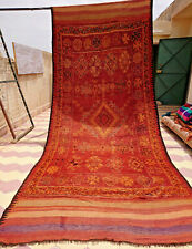 VINTAGE MOROCCAN RUG WOOL AND GOAT HAIR 5'4 X 13' FT BERBER AZILAL BOHEMIAN RUGS