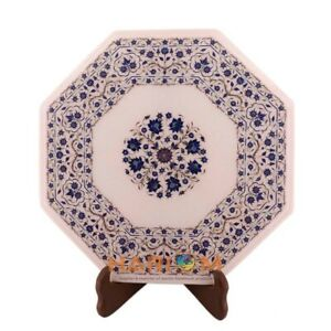 """14"""" Marble Top Coffee Table Lapis Fine Floral Inlay With 14"""" Marble Stand W300"""