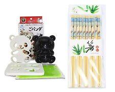 Japanese Bento  Baby Panda Rice Mold Cutter Set & 5 Pairs of Wooden Chopsticks