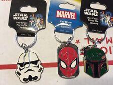 Spiderman Starwars Keychain Keyring Keyfob Lot of 3
