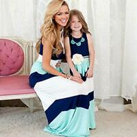 summer Mommy and me family matching mother daughter dresses clothes striped mom