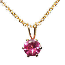 "5mm ROUND GENUINE PINK TOURMALINE 14k GOLD FILLED PENDANT + 18"" CHAIN / NECLACE"