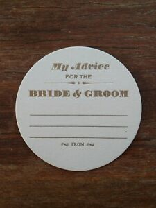 My Advice for the Bride & Groom WEDDING COASTERS, LETTERPRESS X 150 Round