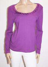 MARCO POLO Designer Purple Satin Loop Neckline Pullover Top Size L BNWT #SJ06
