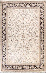 Vegetable Dye Wool/ Silk Tebriz Oriental Area Rug Handmade IVORY Carpet 10x14 ft