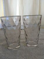 """2 Anchor Hocking Clear Drinking Glasses 12 oz . Marking on bottom of glass 6""""T"""