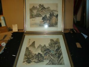 Pair (2) Chinese Japanese Asian Artwork Painting ON SILK Framed ESTATE FIND