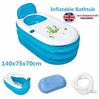 Blue PVC Foldable Durable Adult Spa Warm Bathtub Kids Swimming Pool w/  UK