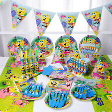 89Pcs SpongeBob SquarePants Kids Party Decoration Gift Bag Table Cover Flag Mask
