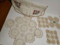 Vintage Doilies crocheted Lot of 4 & 1 Embroidered Dresser/Table Linen