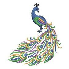 PEACOCK new design EMBROIDERED SET OF 2 BATHROOM HAND TOWELS by laura