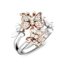 2.3ct Butterfly White Topaz Women 925 Silver Ring Wedding Engagement  Size 6-10