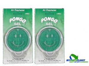 2 X Pongo Car Gel Air Freshener Green Smiley Face Autumn Fruits Chill Scent