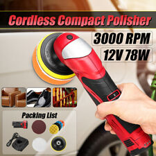 "Cordless Li-ion Car Polisher Sander Polishing Machine 12V + 4"" Sponge Pad"