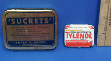 Vintage Empty Tylenol Tablets & Sucrets Tin Medicine Sample Size Box Lot of 2