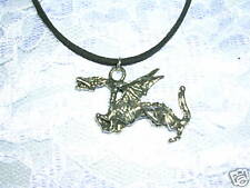 "WICKED EVIL FLYING DRAGON PEWTER PENDANT 24"" BLACK SUEDE LEATHER NECKLACE"