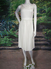 AMSALE SIZE 6 SHORT WEDDING GOWN DRESS SILK CREPE IVORY SASH BEACH FORMAL $1,200