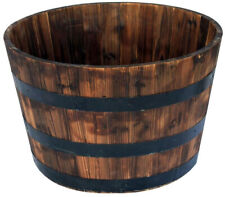 Round Wooden Barrel Planter 26 in. Extra Large Weather Resistant Drainage Holes