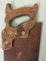 "Vintage Disston Hand Saw 29"" Wood Wheat Handle 26"" blade"