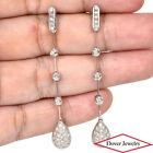 Estate Diamond 14K Gold Station Long Bar Drop Earrings 5.6 Grams NR