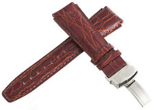 Aqua Master 22mm Maroon Leather Watch Band with Stainless Steel Deployment clasp