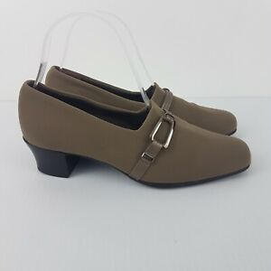 Munro American Womens Shoes Khaki Brown w Buckle SZ 37 Slip On Comfort Pumps