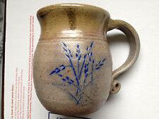 Pottery Salt Glazed Crock Handle/Blue Floral 1990