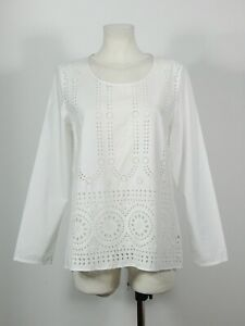 Max Volmary Diamonds and Pearls cotton white eyelet blouse top D 40 UK 14 I 46