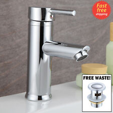 BATHROOM CLOAKROOM SINK BASIN MONO MIXER TAP CHROME SINGLE LEVER WITH FREE WASTE