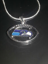 Seattle Seahawks Necklace Pendant Sterling Silver Chain NFL Football