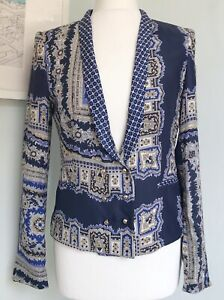 ZARA Blue Paisley Scarf Print 100% Mulberry Silk Blazer Jacket M UK 10 Chic Boho