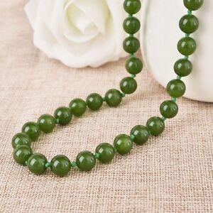 Perfect 6/8/10mm Brazilian Green Jade Gemstones Round Beads Necklace 18-50''AAA