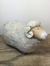 More details for vintage scandinavian ceramic sheep ram with wool coat collectable ornament